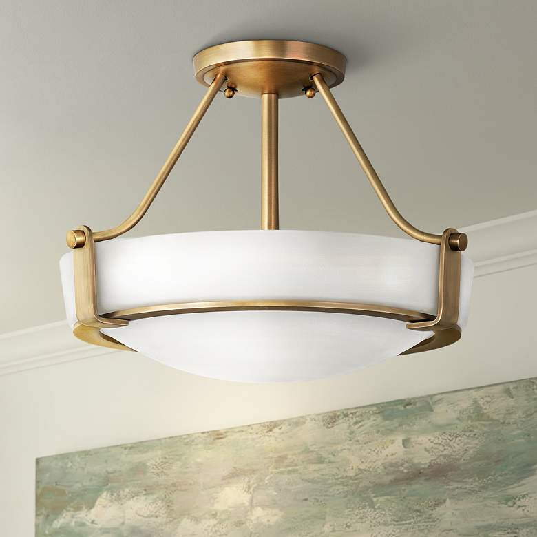 Hinkley Hathaway 16 Wide Heritage Brass Led Ceiling Light 71a10 Lamps Plus Entryway Light Fixtures Ceiling Lights Brass Ceiling Light