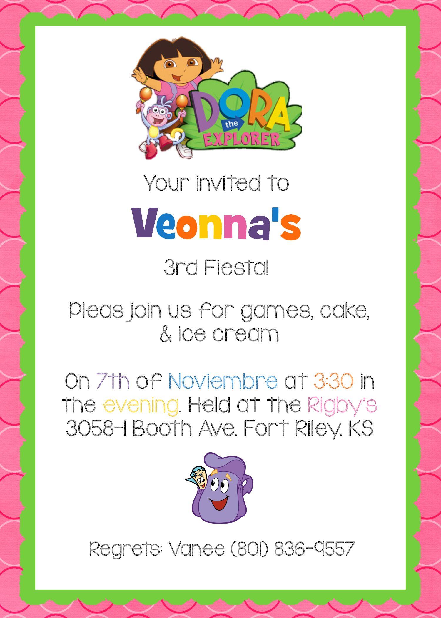 Nick Jr.\'s Dora The Explorer Birthday Invite | Birthday Invites ...