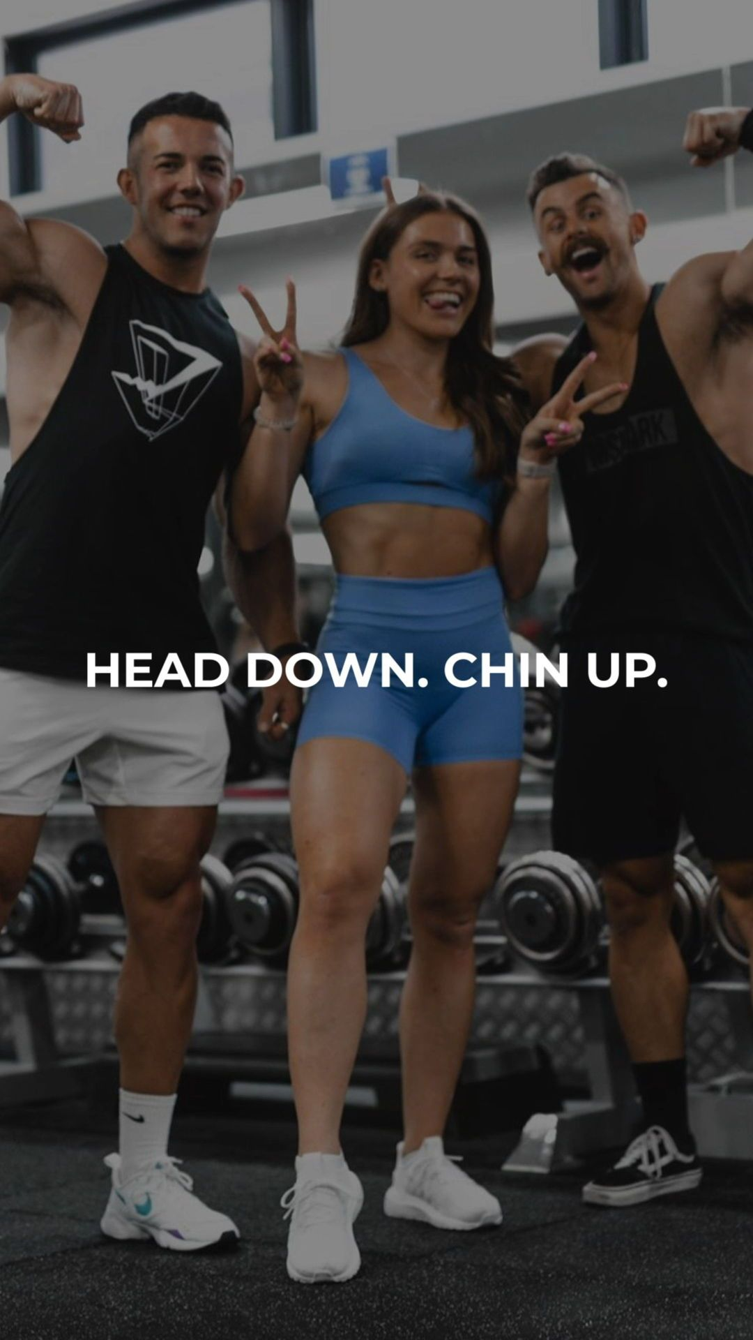 """""""Head down. Chin up."""" - Gymshark. Save this to your motivational board for a reminder! #Gymshark #Qu..."""