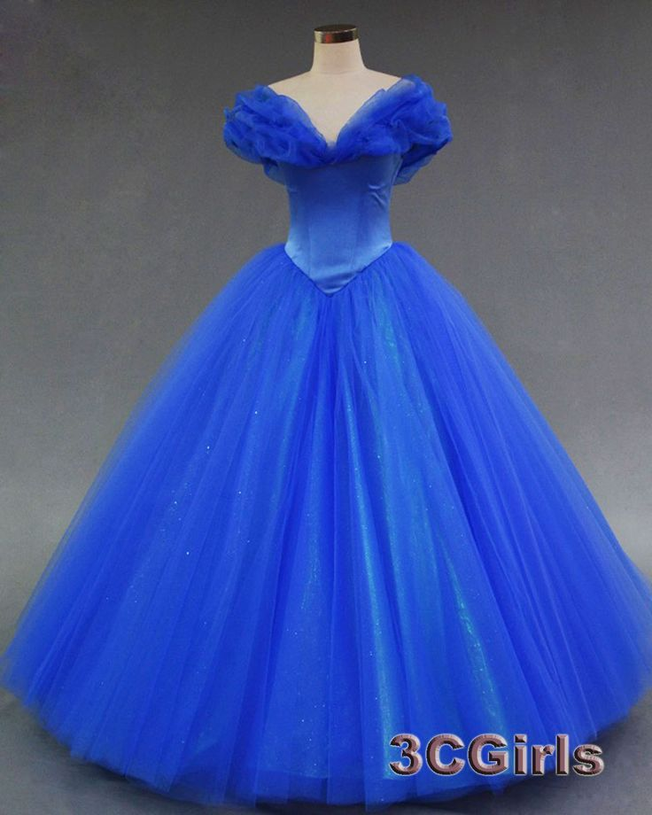 Electric Blue Puffy Prom Dresses