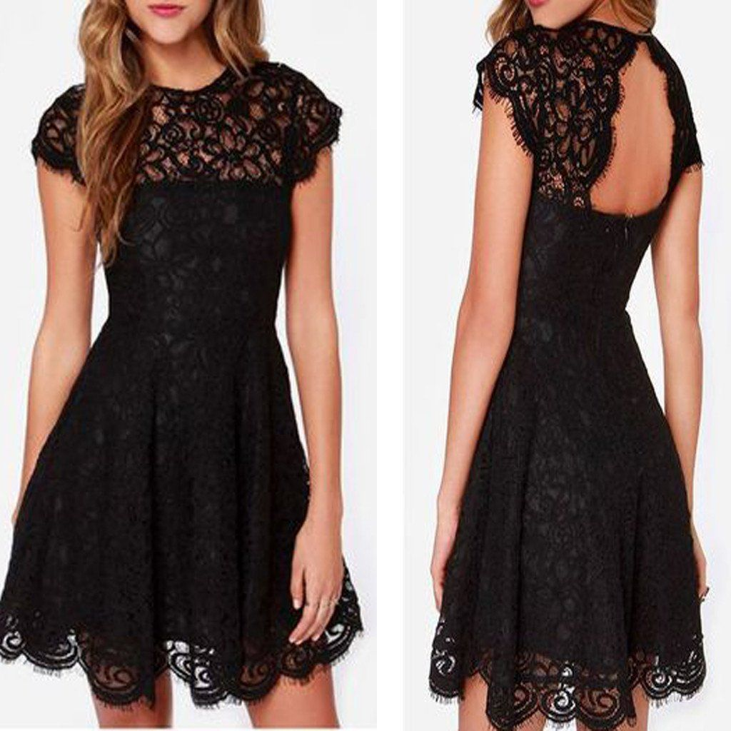 Short sleeve black see through lace simple open back tight