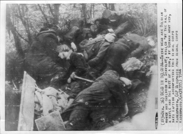 Stavelot, Belgium, Bodies of women and children murdered by soldiers of the Wehrmacht.