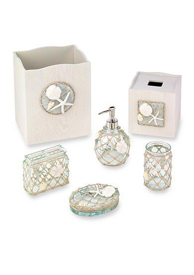 Avanti Sea Glass Bath Accessories Waste Basket And Tissue Box Sets