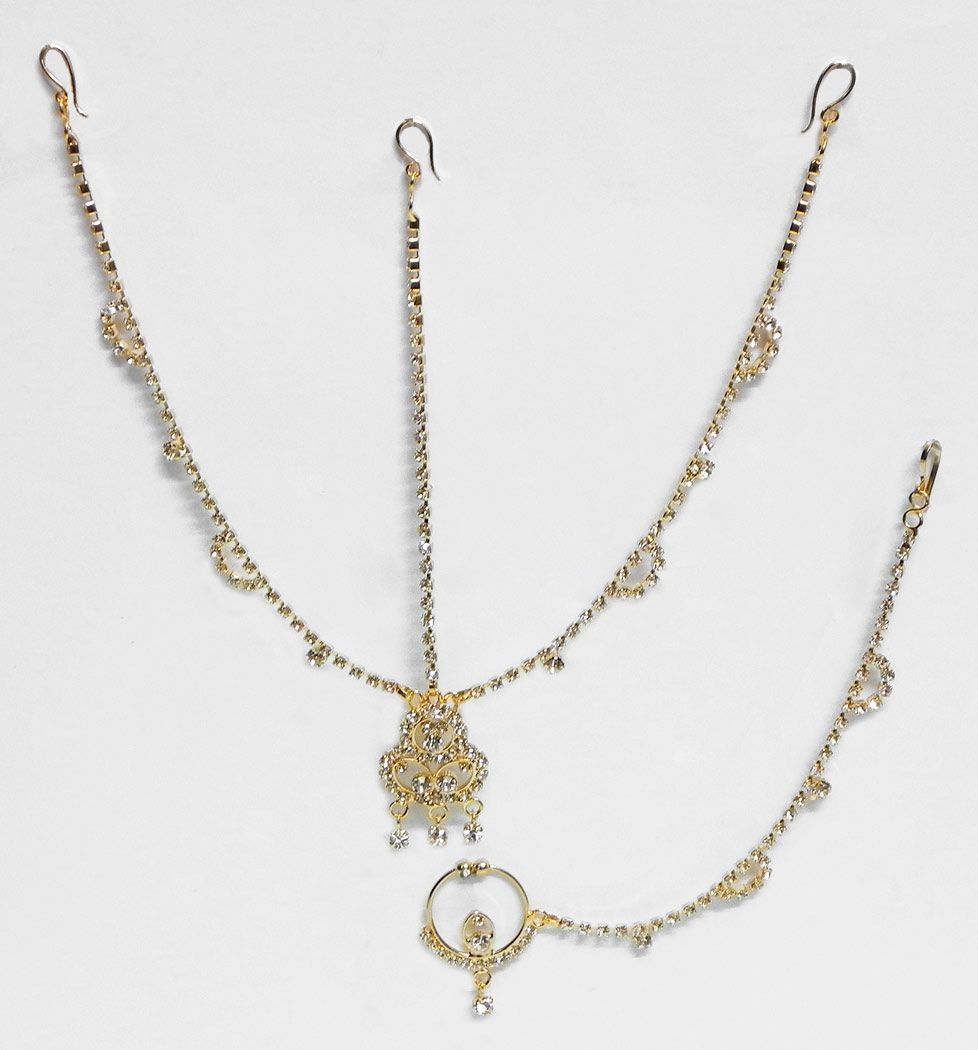 White Stone Studded And Gold Plated Matha Patti With Mang Tika And