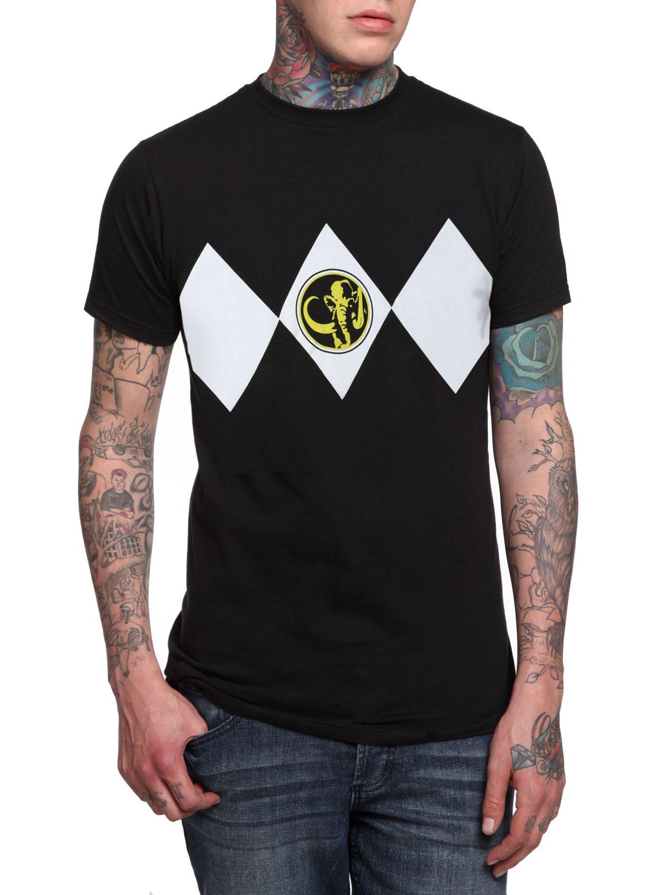 b711d765d9c Mighty Morphin Power Rangers Black Ranger Cosplay T-Shirt