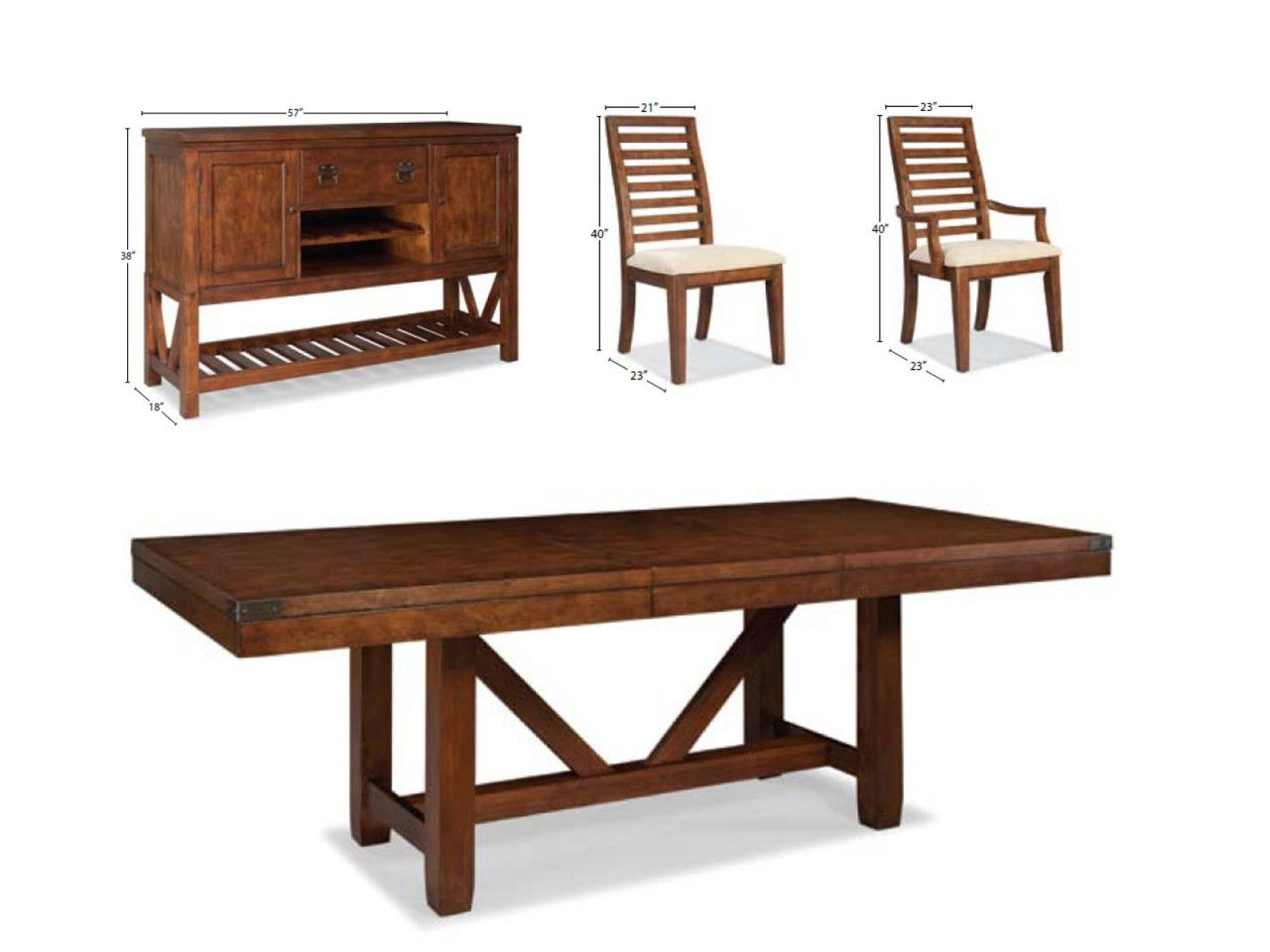 North Creek 7pc Dining Room Table Set