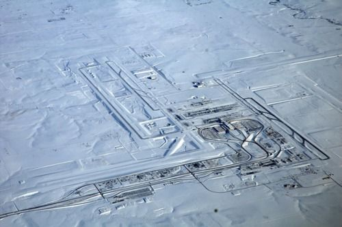Aerial shot of Denver Airport in Snow  By: Cujo. #Denver #airport #snow