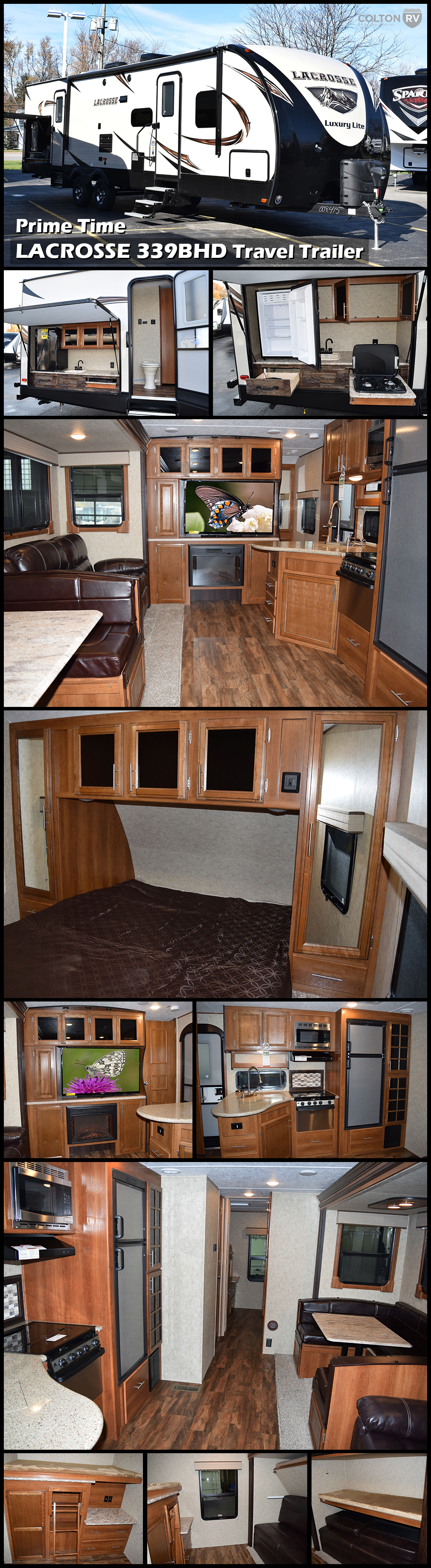 2017 Prime Time Lacrosse 339bhd Travel Trailer As Soon As You Enter This Trailer You Will Notice The Attention Rv Living Motorhomes For Sale Grand Design Rv
