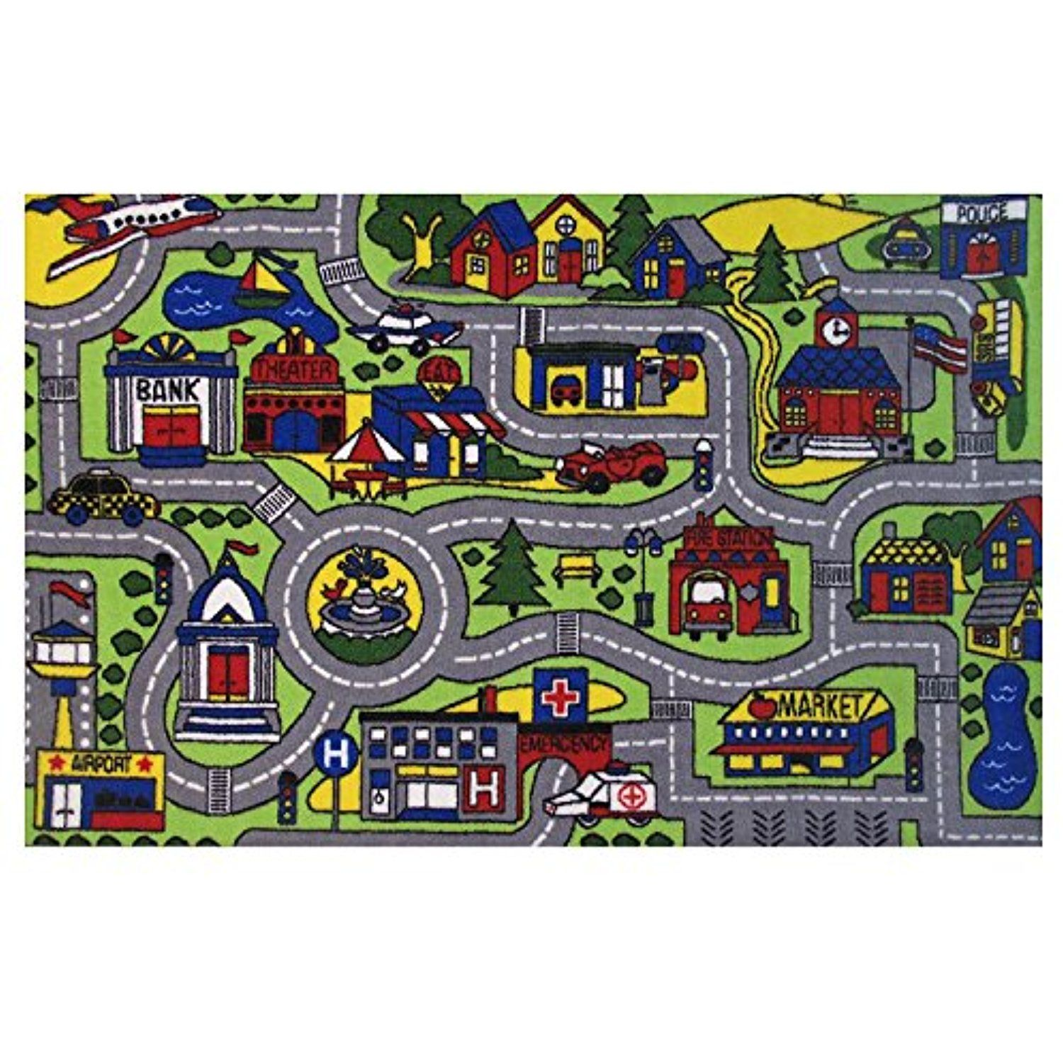 Homemusthaves Green Multi Color City Streets Roads Driving Kids
