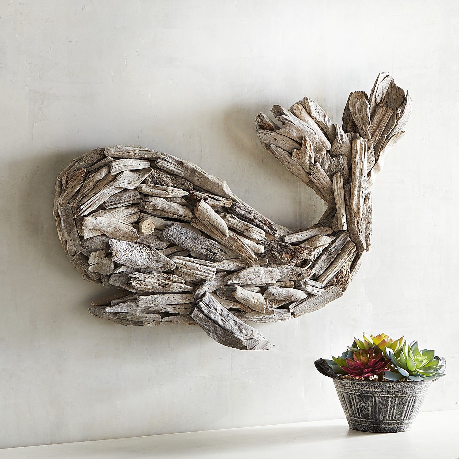 driftwood whale wall decor white wash on wall art id=83058