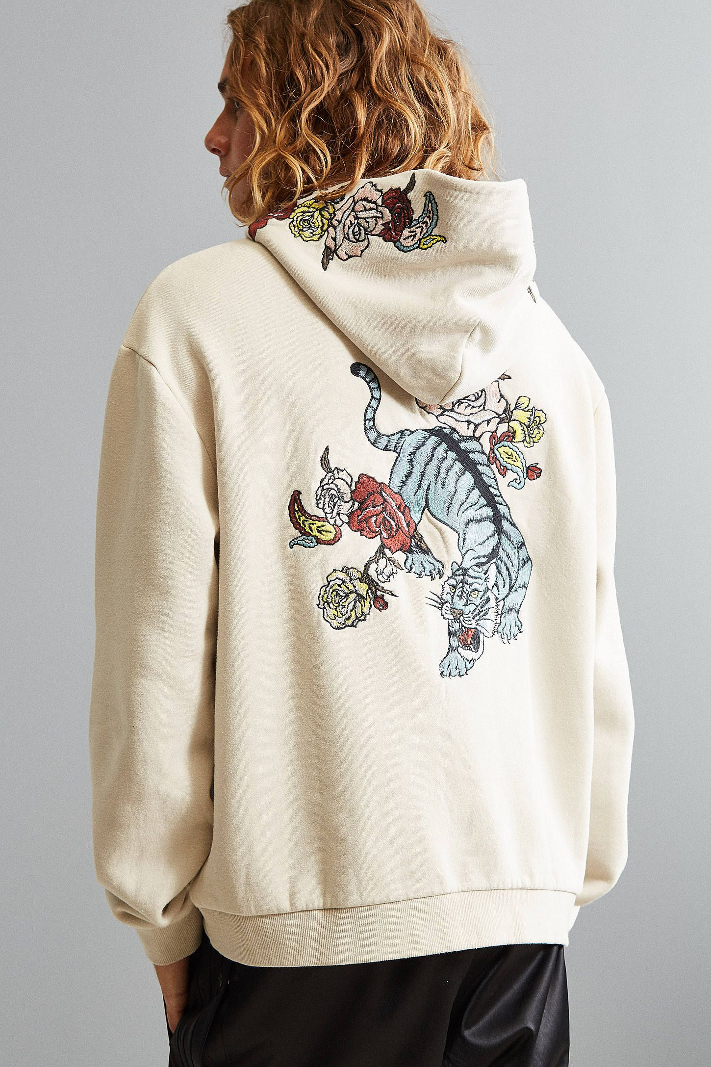 f2345e85 UO Tiger Floral Embroidered Hoodie Sweatshirt | style. | Sweatshirts ...
