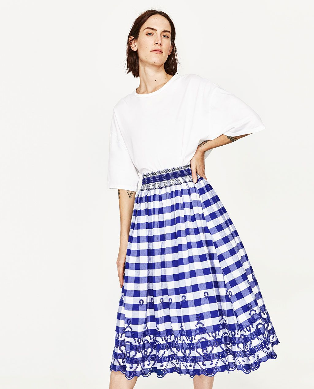 63a8db36fc GINGHAM CHECK MIDI SKIRT-View All-SKIRTS-WOMAN | ZARA United States ...