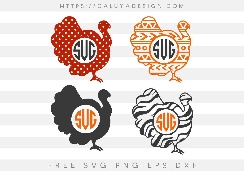 Free turkey monogram SVG, PNG, EPS & DXF by Caluya Design
