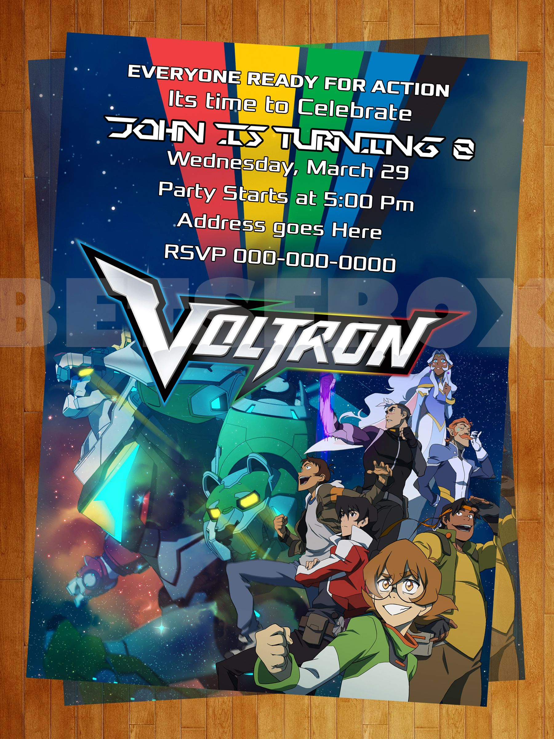Voltron Digital Invitation | Invitations | Birthday ...