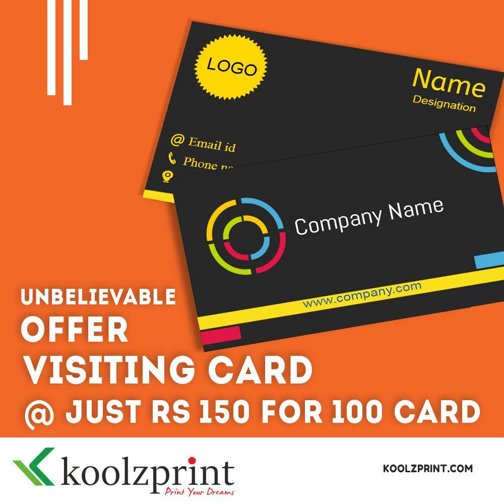 Unbelievable Offer Visiting Card Just Rs 150 For 100 Card Visitingcardsprinting Businesscarddesig Visiting Card Design Visiting Cards Business Card Design