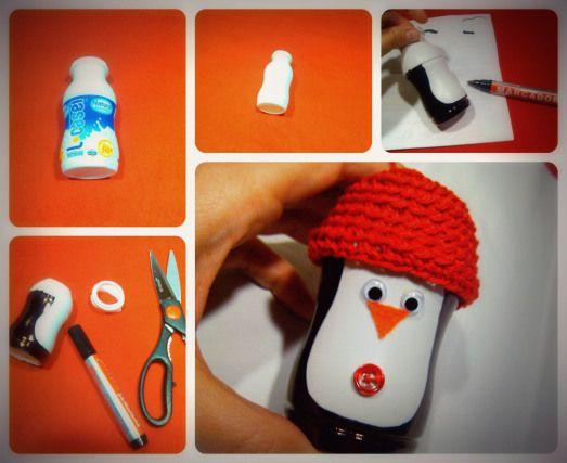 Ping ino con envases adornos navide os reciclados for Decoraciones de botes de plastico