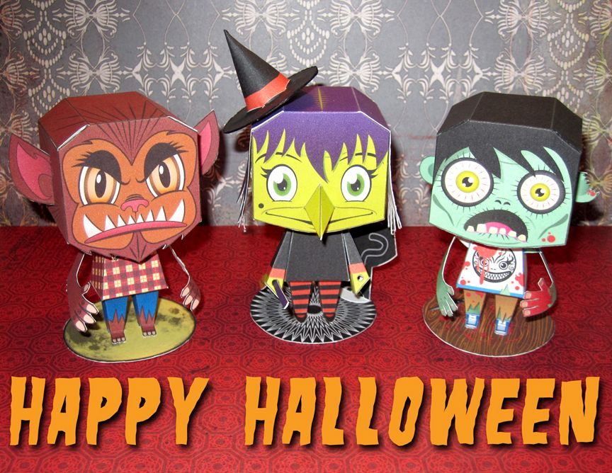 spooky paper toys #free #printable #halloween #holidays #diy
