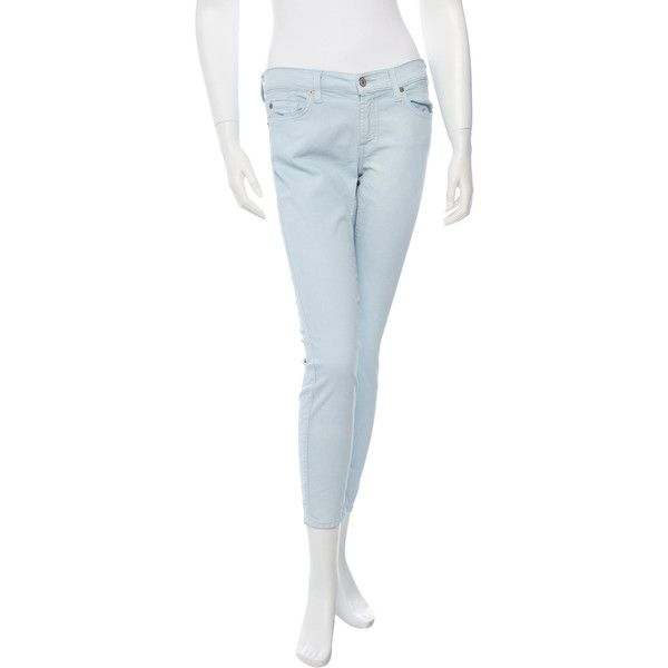 Pre-owned 7 for all Mankind Cropped Skinny Jeans ($75) ❤ liked on Polyvore featuring jeans, blue, white denim skinny jeans, white cropped skinny jeans, blue jeans, white cropped jeans and blue skinny jeans
