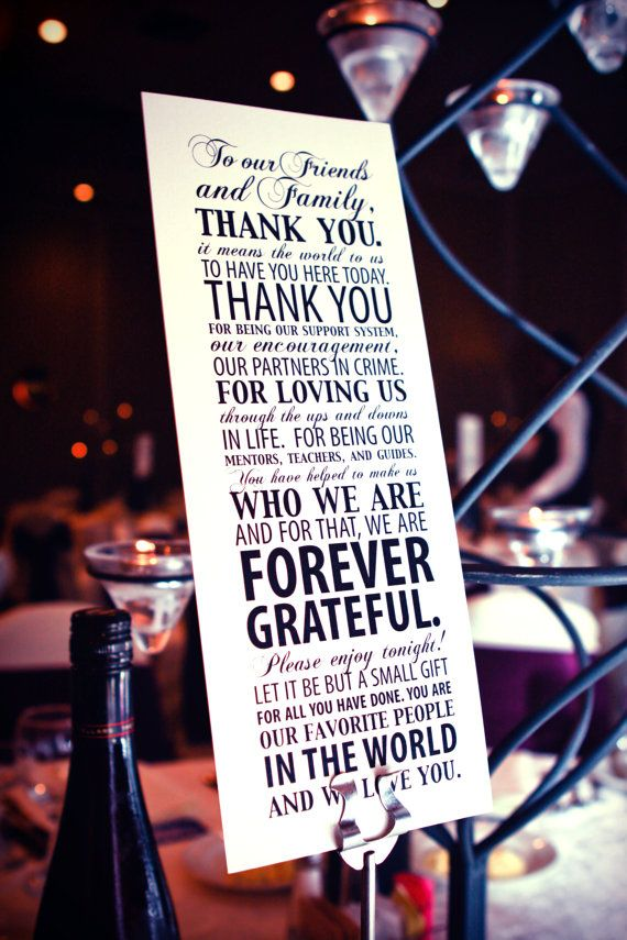 Thank you note to guests to be displayed at bar or gift table.