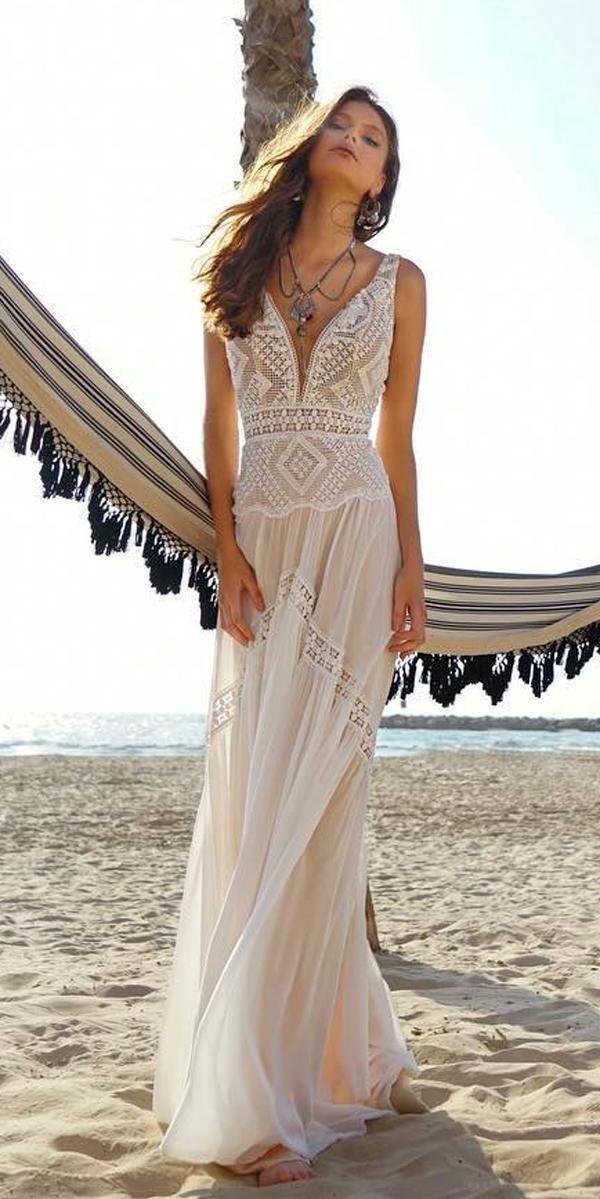 Photo of boho beach wedding dresses straight lace v neckline with straps rish bridal #bea…