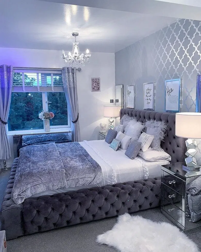 78 Bedroom Ideas To Give Your Bedroom A Classy Look 30 Bedroom Bedroomdesign Bedroomideas Home Design Luxurious Bedrooms Silver Bedroom Girl Bedroom Decor
