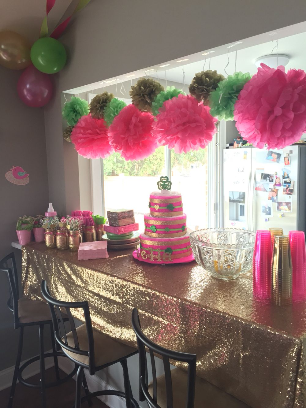 Baby Shower Decor Bright Pink Lime