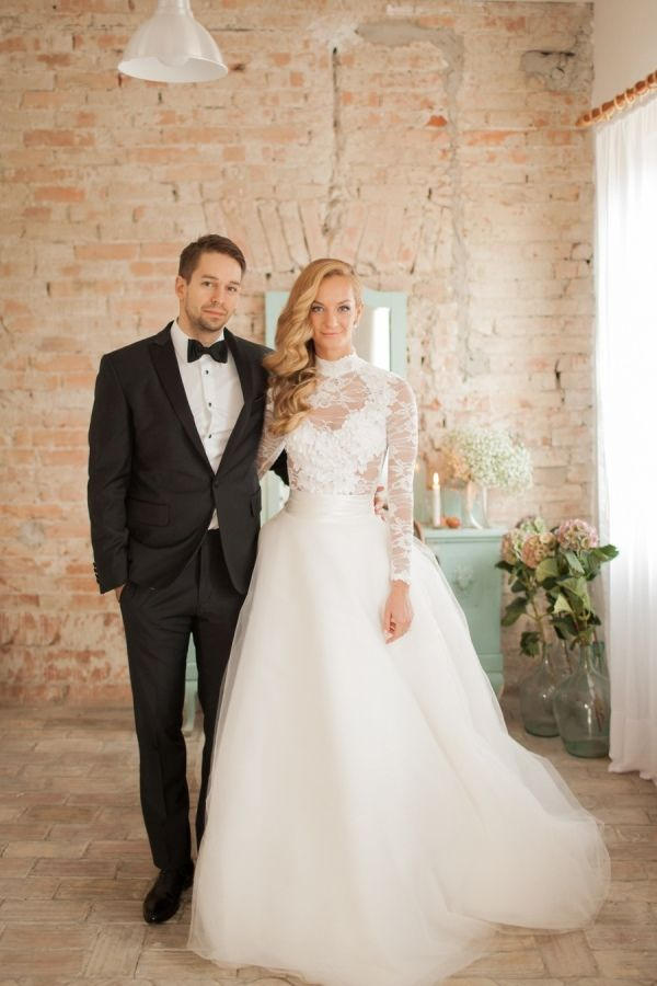 c2baa42d713 High neck long sleeve lace wedding dress + tulle overskirt  http   www