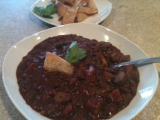 Three Bean Chili and Chips [click for recipe]