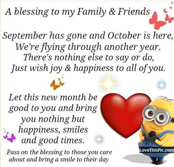October Blessings To Family And Friends Minion Minions Happy Hello Quotes Welcome