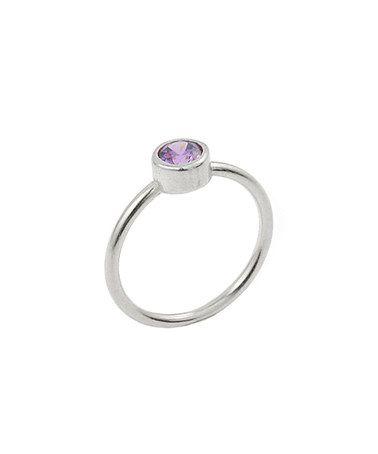 Look at this #zulilyfind! Purple Swarovski Cubic Zirconia & Sterling Silver Solitaire Ring #zulilyfinds