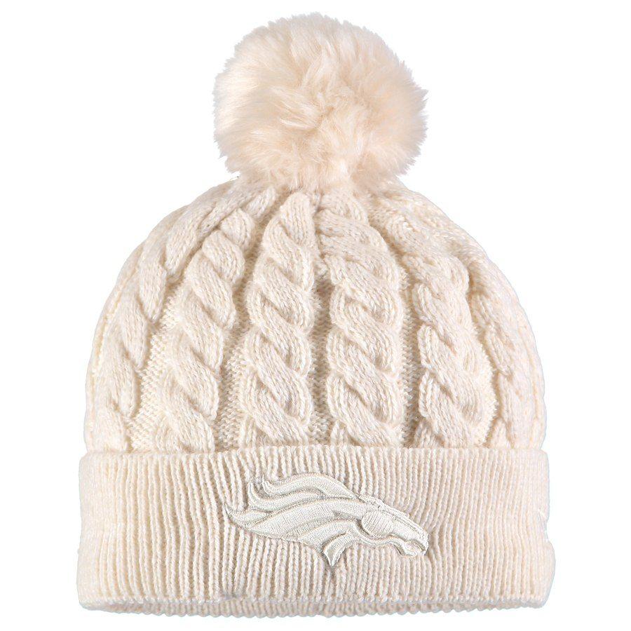 Women s Denver Broncos New Era Cream Walcott Cuffed Knit Hat with ... 3aaf63164