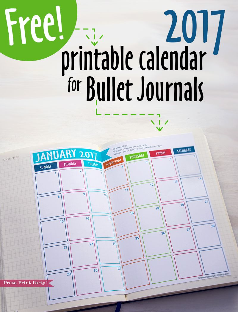 2018 Calendar Set, Bullet Journals, Printable Watercolor ...
