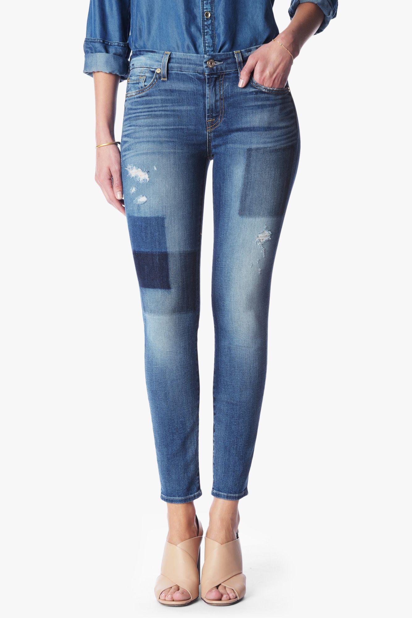 7 Pour Tous Les Jeans Skinny Femme De L'homme En Détresse À Mi-hauteur Brodé Denim Clair Taille 24 7 Pour Toute L'humanité RUCGEZD