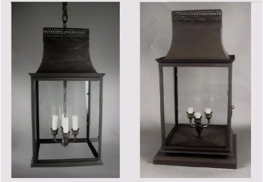 Genie House's classically designed solid brass 494 lanterns are enlivened with brass gallery along the top. This versatile lantern is suitable for indoor and outdoor needs.
