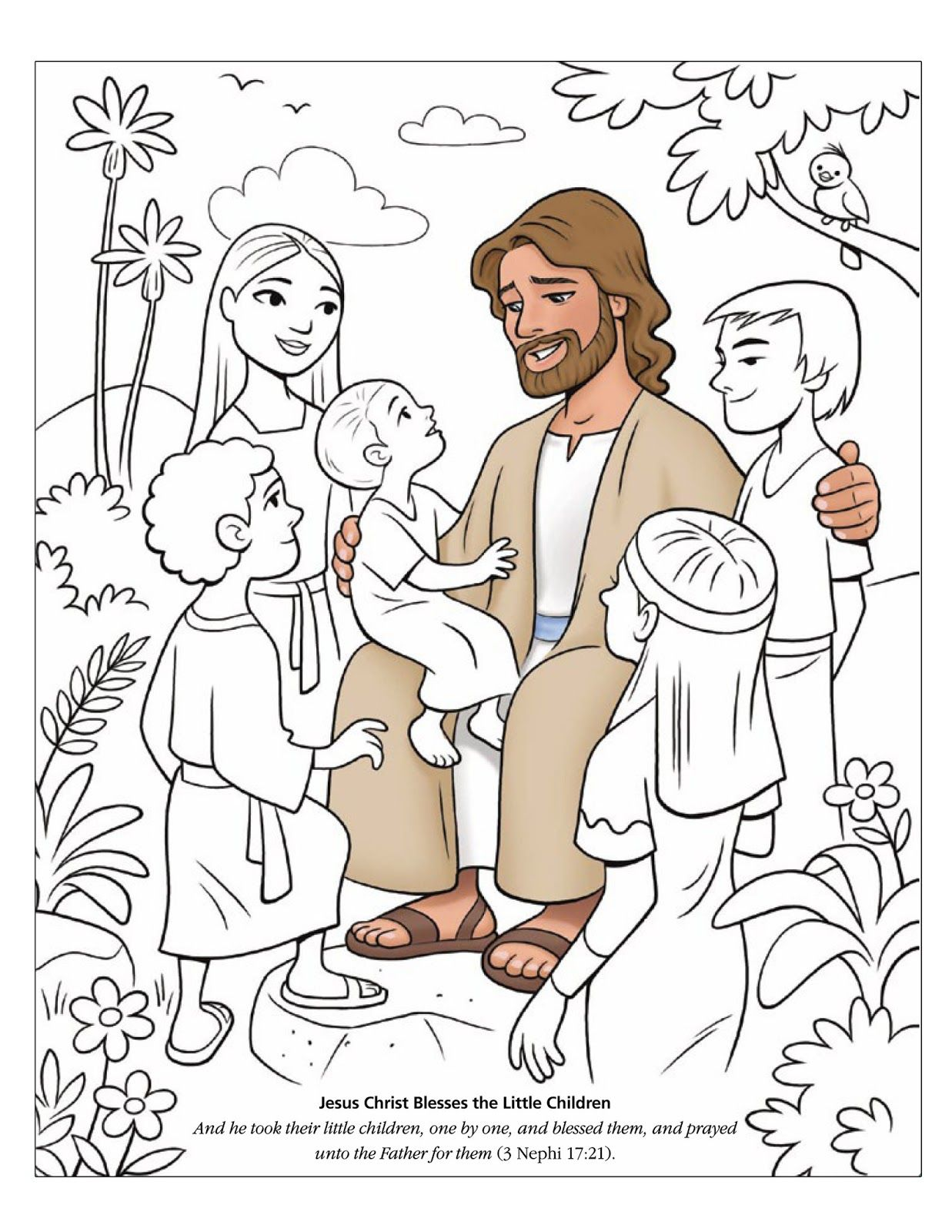 jesus with the children coloring page coloring page jesus blesses the children