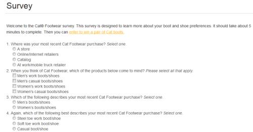 Cat Footwear Customer Satisfaction Survey WwwCatfootwearCom