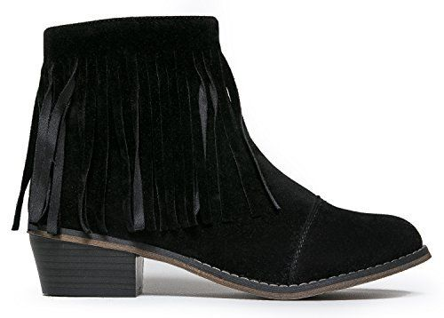 Need this - Breckelles DC62 Women Suede Fringe Cap Toe Ankle Booties Black 8
