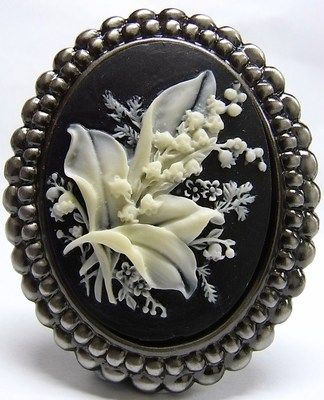 Vintage Style Lily of The Valley Cameo Brooch Pendant | eBay