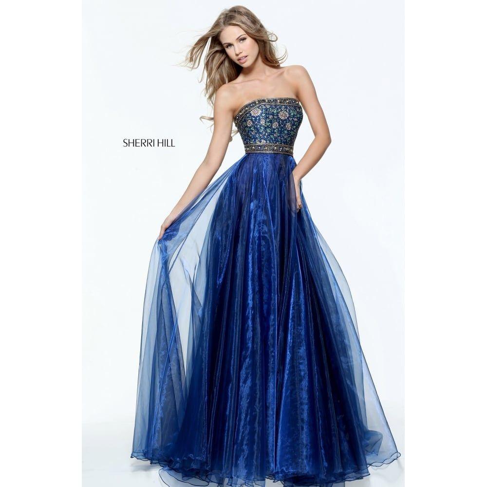 Sherrihill ball gown prom dress strapless sherri hill
