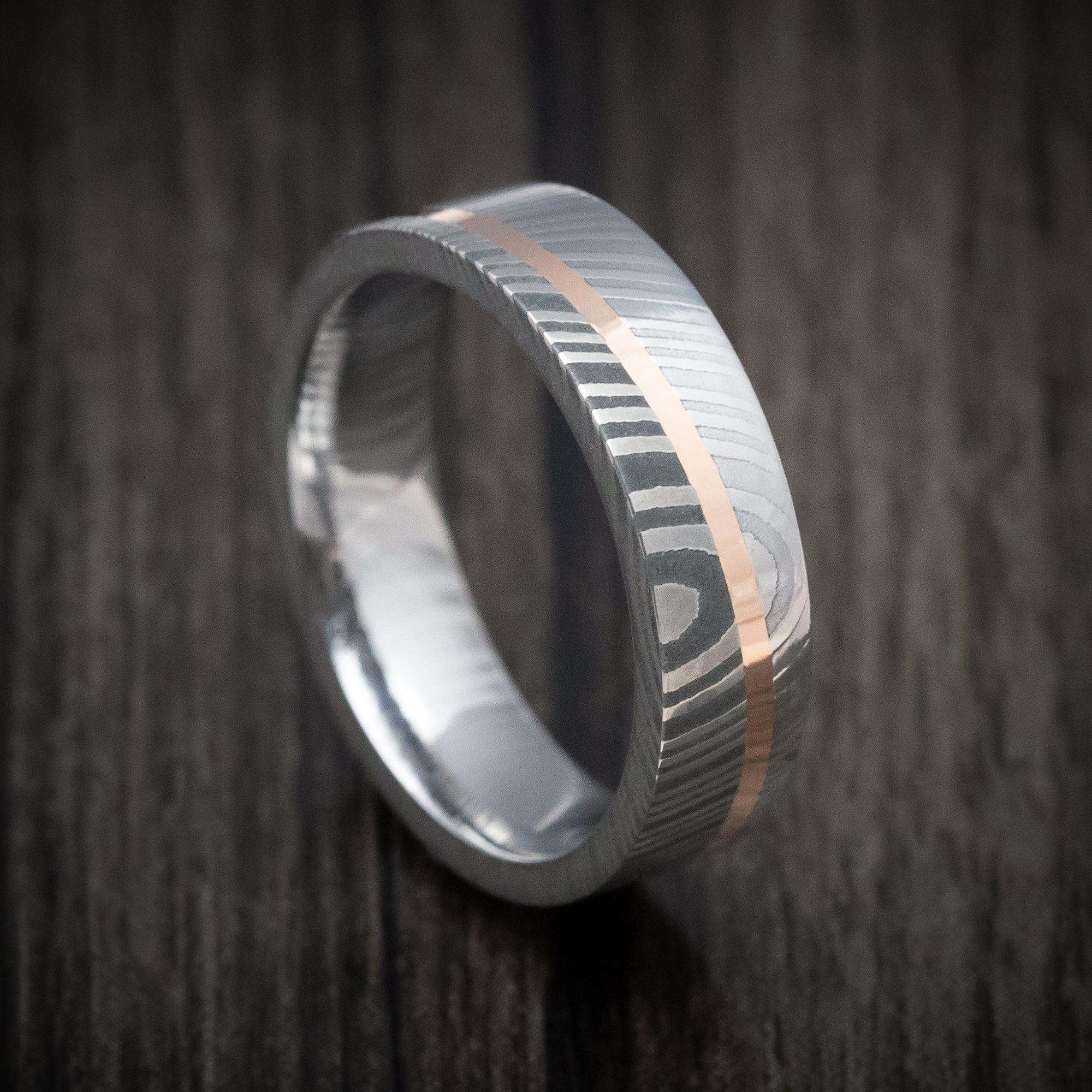 Damascus Steel Diagonal 14k Gold Ring Wedding Band Custom Made In 2020 Gold Band Wedding Ring Wedding Ring Bands Damascus Steel Ring