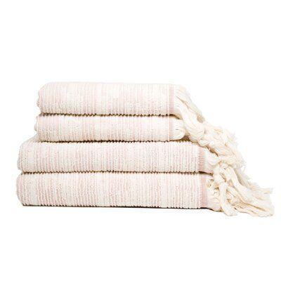 Bungalow Rose Shaler Tassle Fringe 4 Piece Turkish Cotton Towel