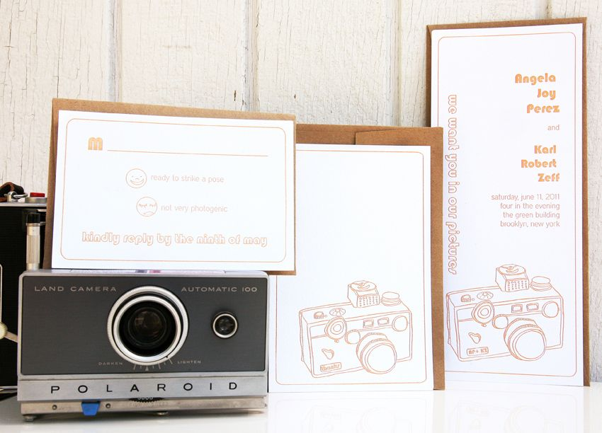 """Vintage Camera Letterpress wedding invitations: """"we want you in our pictures..."""""""