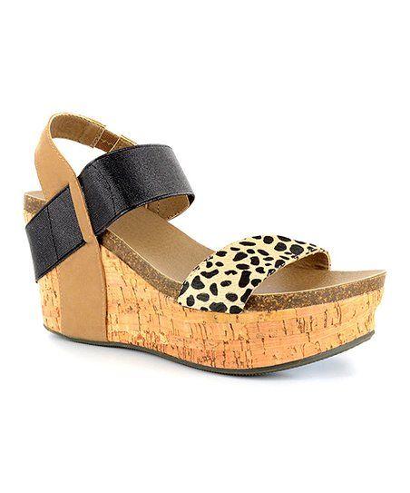 eb4447681fb7 Corkys Footwear Tan   Cheetah Print Strappy Wedge Sandal