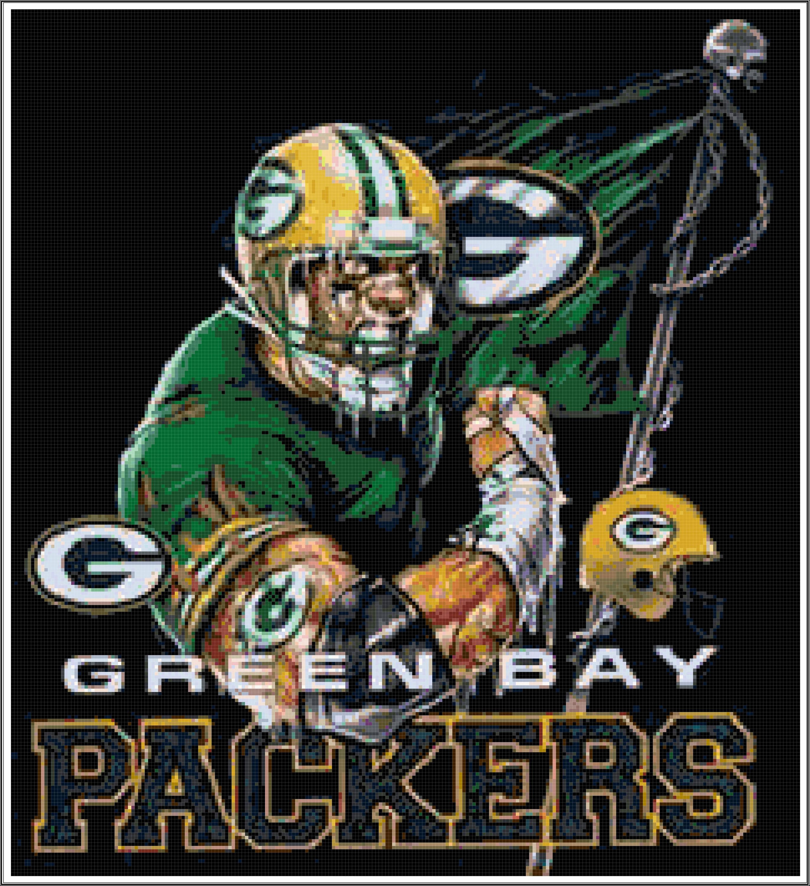 Go Green Bay Packers Football Cross Stitch Printable Needlework Pattern Diy Crossstitc Green Bay Packers Wallpaper Green Bay Packers Mascot Green Bay Packers