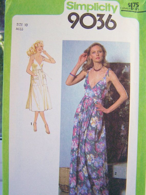 Simplicity 9036 Sewing Pattern 70's Misses' Back by WitsEndDesign