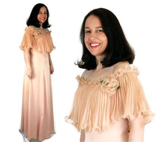 1970s Formal , 70s Prom Dress, Long Dress, Pleated Ruffle