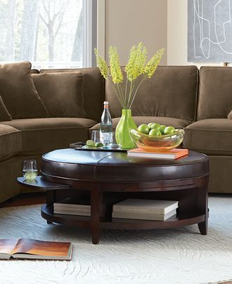 Park West Round Leather Cocktail Table Furniture Macy S Leather Coffee Table Coffee Table Storage Ottoman Coffee Table