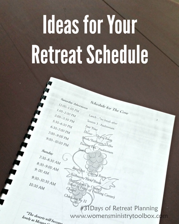 Day 12 ideas for your retreat schedule retreat ideas for How to plan a couples retreat