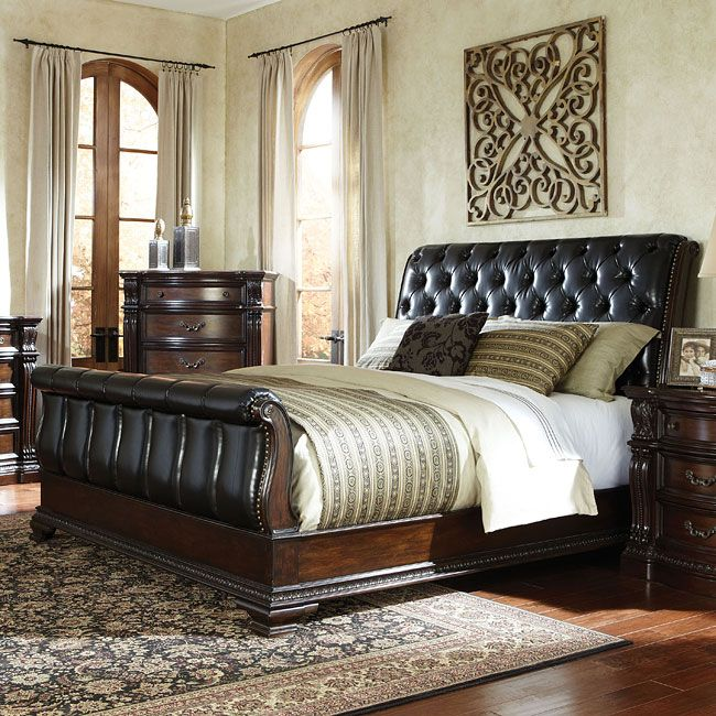 Magnificent Details Give The Churchill Upholstered Sleigh Bedroom Collection By Standard Furniture A Grand A Buy Bedroom Furniture Standard Furniture Furniture