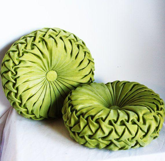 Marvelous Made To Order  Handmade 1960s Vintage Inspired Round Smocked Decorative  Pillows Dupion Silk Kiwi Green